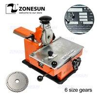 ZONESUN semi automatic metal nameplate marking machine , label engrave tool,emboss variable parameters,1 gear