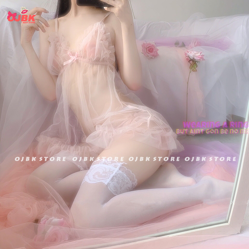 OJBK Sexy lingerie Fairy Peach Girl Cute Chiffon V-neck perspective Nightdress Underwear Pink Sleepwear Set Lenceria Femenina 2