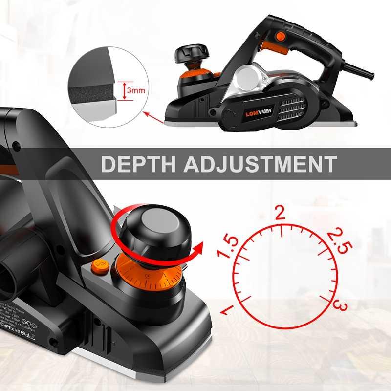 LOMVUM 750w 전기 평면 평면 가변 속도 핸드 헬드 전동 공구 목재 절단 AC 110V-240V EU 미국 플러그