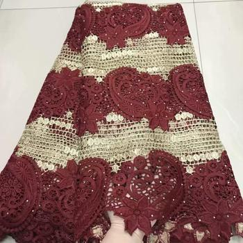 5yards  fashion  double color water soluble lace  good quality African cord lace fabric for dress  DFOC222