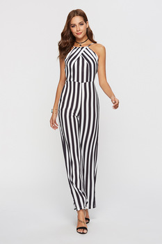 Women Jumpsuit Rompers Spring Summer Casual Striped Sling Pocket Jumpsuit Sleeveless Wide Leg Loose Jumpsuit bardot frill trim wide leg jumpsuit