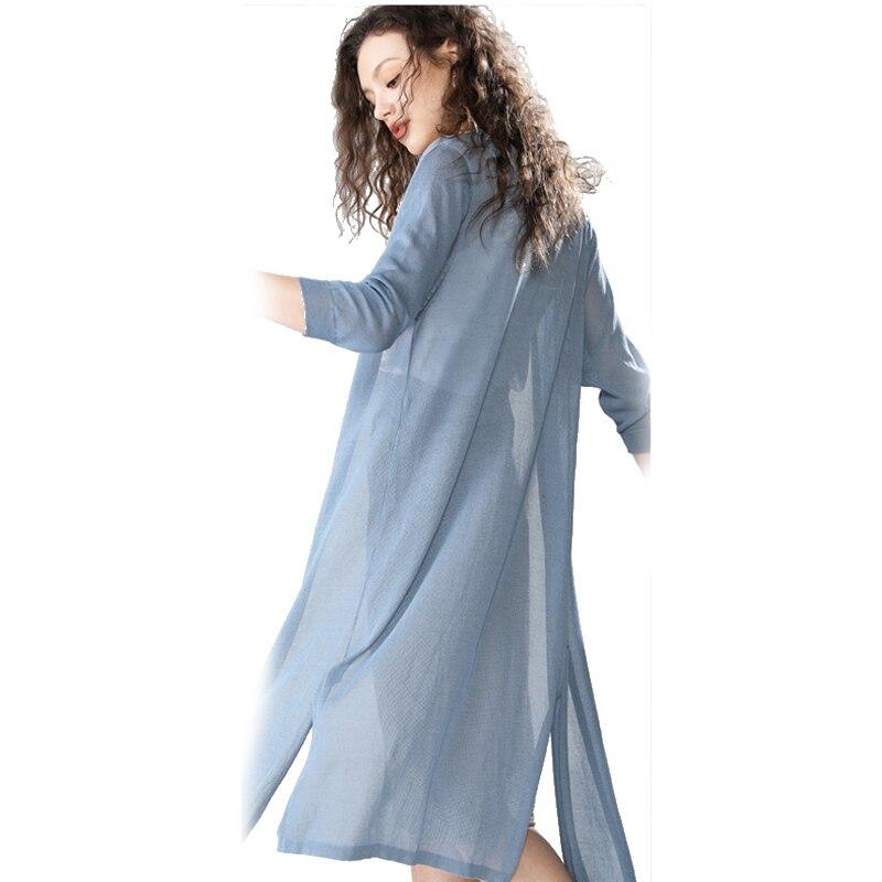 Cardigan Women Long Summer New Shirt Thin Tops Three Quarter Sleeves Flax Sunproof Coat Fashion Beach Cover Soft Blouses