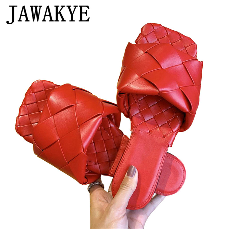 Weave Handmade Flat Slippers Women 2020 Summer Outdoors Sandals Women Casual Beach Shoes  Real Leather Runway Flipflops