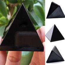 Обсидианская Пирамида гостиная натуральный кристалл камень обсидиан украшения