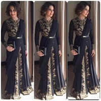 Muslim Prom Dress Long Sleeves Gold Lace Navy Black Long Formal Gowns Lace Applique Wedding Evening Dresses Z2055