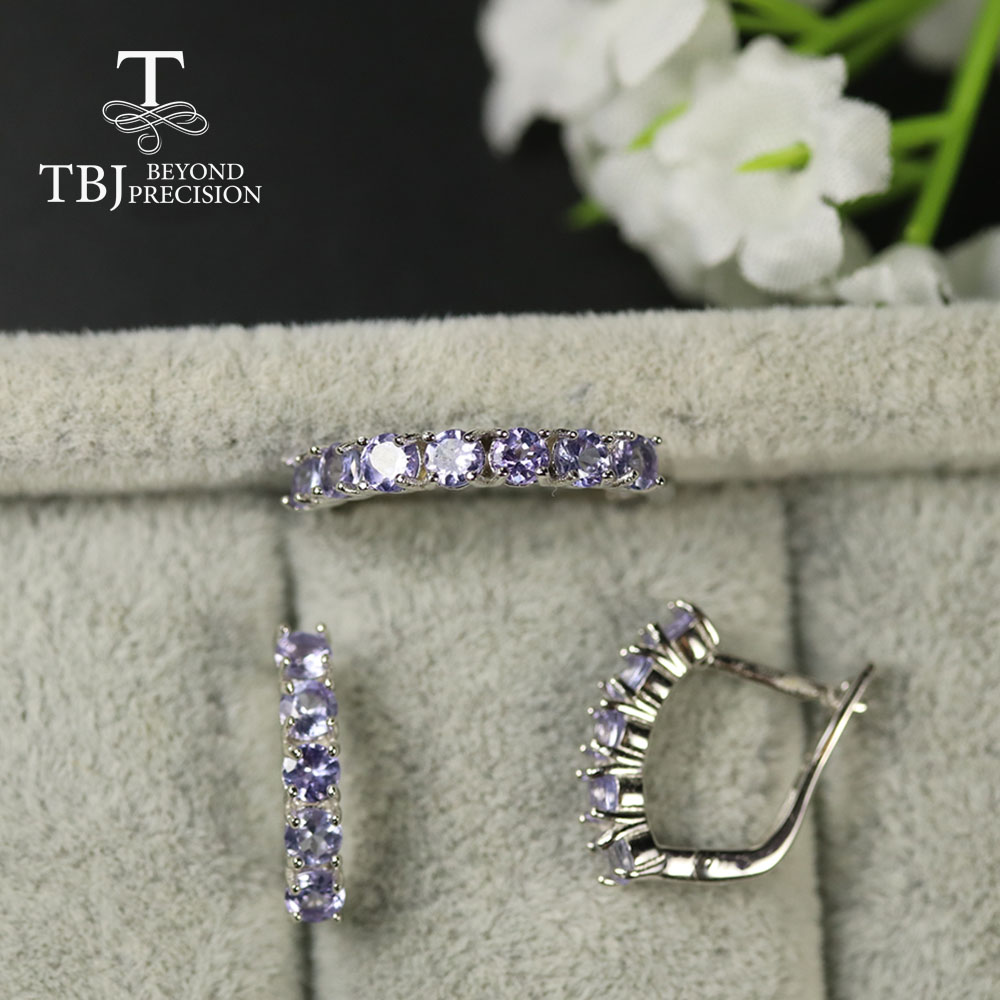 TBJ Natural Tanzanite Jewelry Set Small Size Round 3mm Ring Earring Natural Blue Tanzanite Ring Earring 925 Sterling Silver
