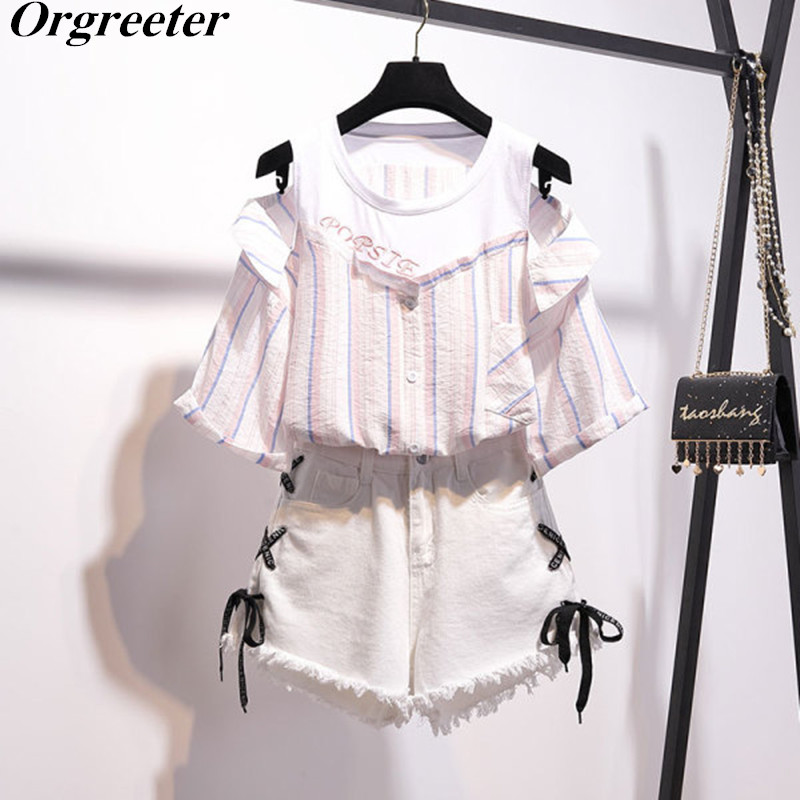 T-Shirt With Shorts 2 Piece Student Sets 2020 Summer New Off Shoulder Ruffled Striped Tops+ Cross Tie Up Tassel Denim Shorts Set