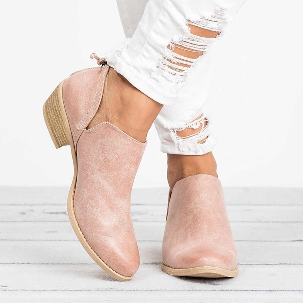 Women Slip on Ankle Boots Casual Cut Out Chunky Low Heels Autumn Short Boots Fashion Pointed Toe Booties Female 2019