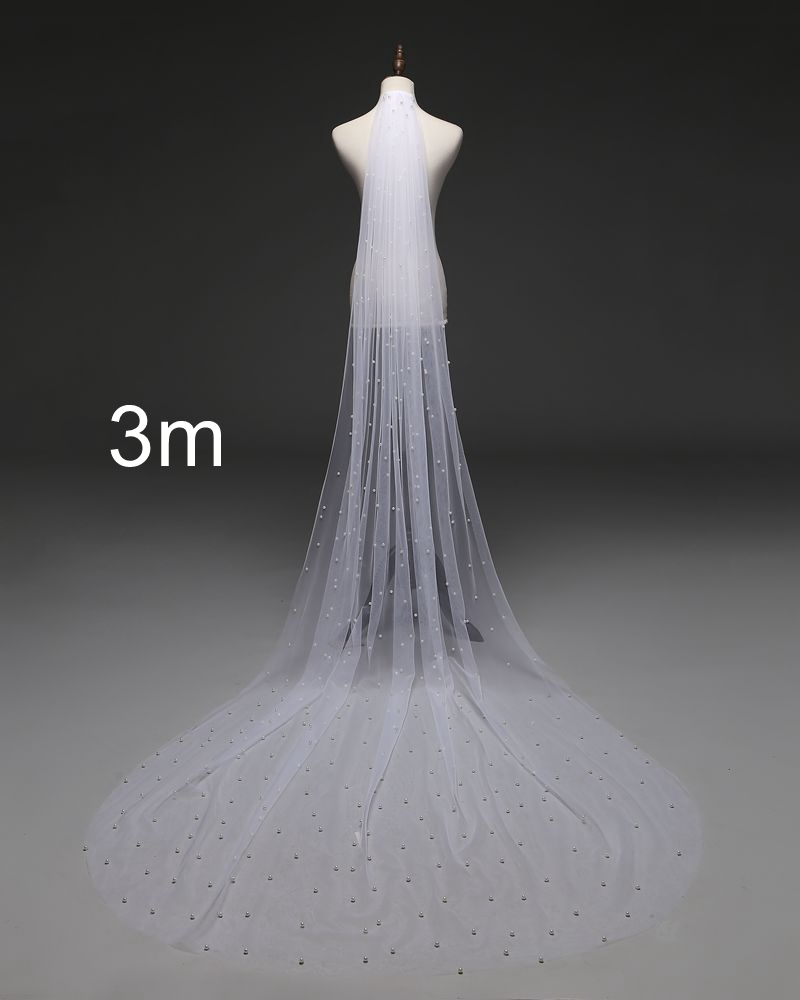 Wedding-Veil Comb Cathedral Royal-Pearl One-Layer White/ivory with Veu-De-Noi/ee708 Hot-Sale