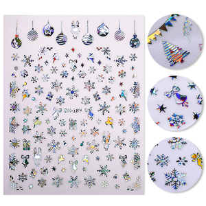 Laser Silver 3D Nail Sticker Xmas Christmas Transfer Decals Stickers for Nails Holographics Self-adhensive Slider Decoration