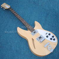 Ricken electric backer guitar natural wood 6 strings semi hollow body jazz electric guitar customized logo hardcase available