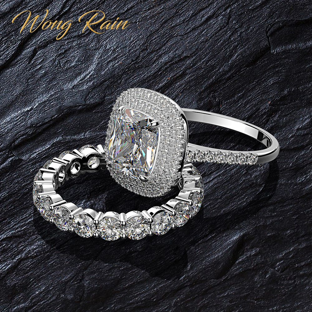 Wong Rain Luxury 100% 925 Sterling Silver Created Moissanite Gemstone Wedding Engagement Band Ring Sets Fine Jewelry Wholesale