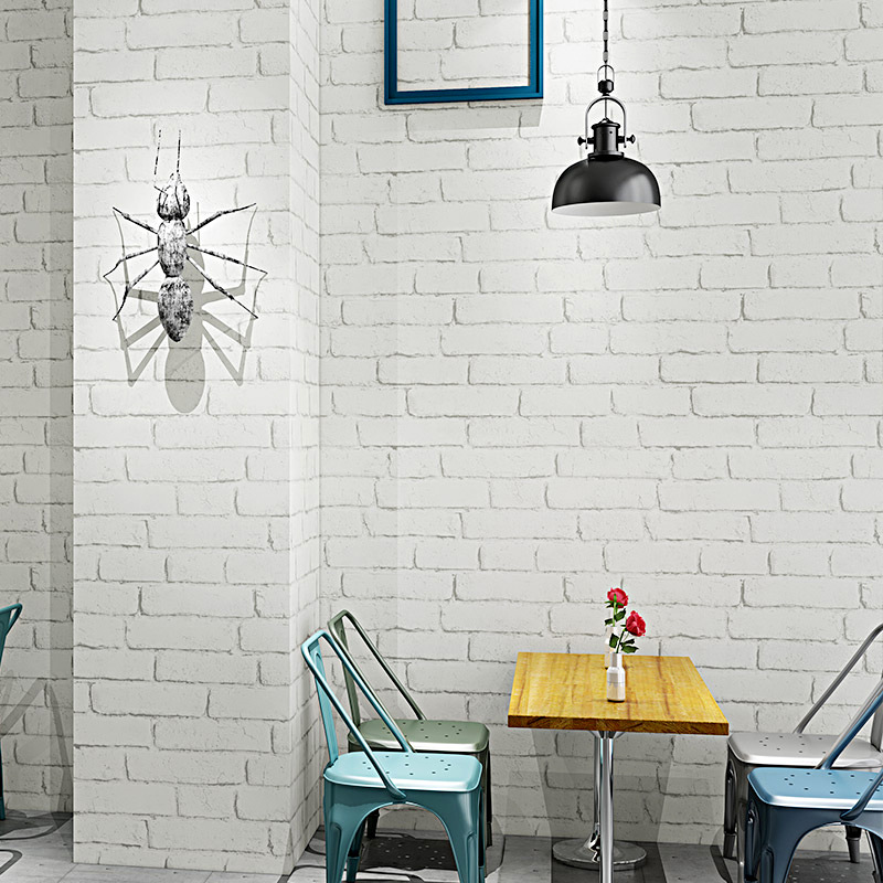 White Brick Background Wallpaper Northern European-Style MacBook Brick Hair Salon Barber Shop Waterproof Retro White Brick Patte