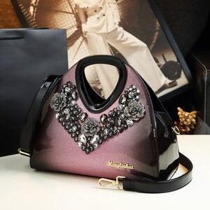 Image 2 - Luxus Mode Diamant Frauen Handtasche Weibliche Knödel Tasche Aus Echtem Leder Tote Tasche Damen Neue Partei Schulter Messenger Taschen