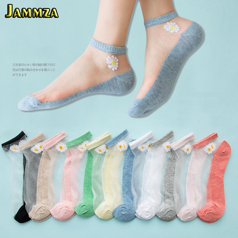 5Pairs/Lot Women Socks for summer Ultra thin Transparent Cass Glass fiber Silk Socks Fashion daisy Flower Japan Ankle Socks
