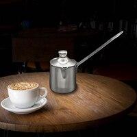 Turco estilo árabe grego pote de café aço inoxidável alça longa jarro de leite barista cafeteira para turco cezve metal han