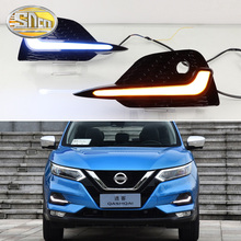 цена на For Nissan Qashqai 2019 2020 Daytime Running Lights LED DRL Fog Lamp Cover With Yellow Turn Signal Lamp Blue Night Lights