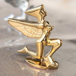 Image 4 - 1PC Goldene Fliegenden Adler Flügel Pferd Stehend Kniend Göttin Form Auto Haube Motorhaube 3D Stehen Univeral Emblem Abzeichen Ornament logo