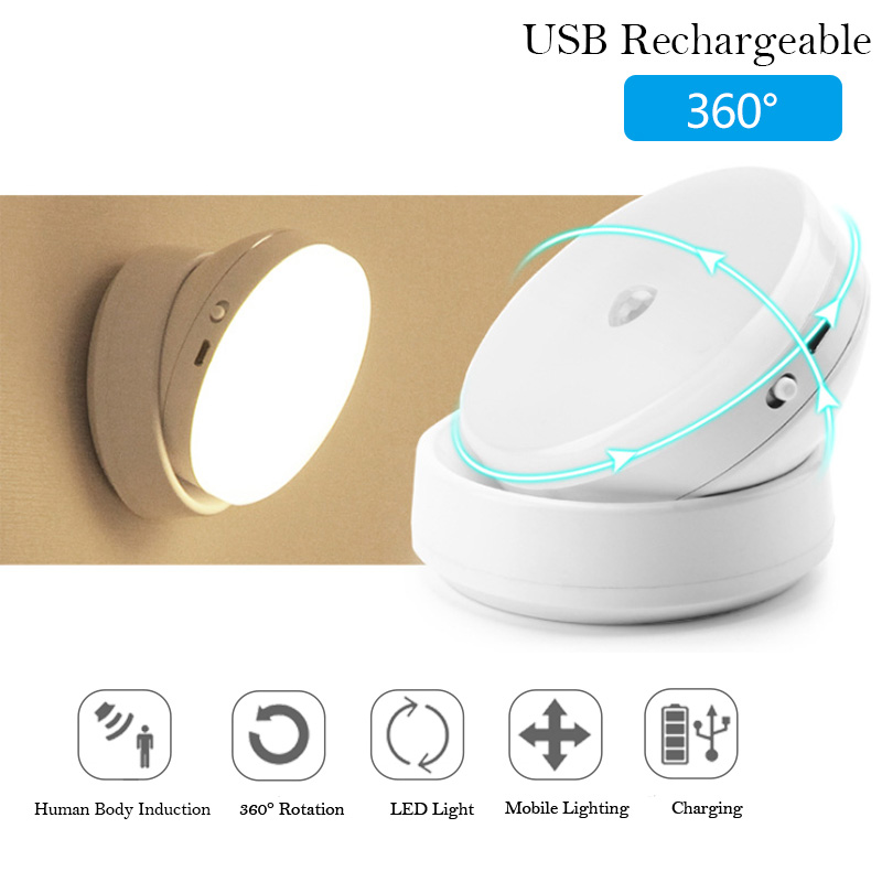 LED Motion Sensor Night Light Bedroom Cabinet USB Rechargeable Wireless Magnetic Wall Lamp  Auto ON OFF Closet Hallway Lighting