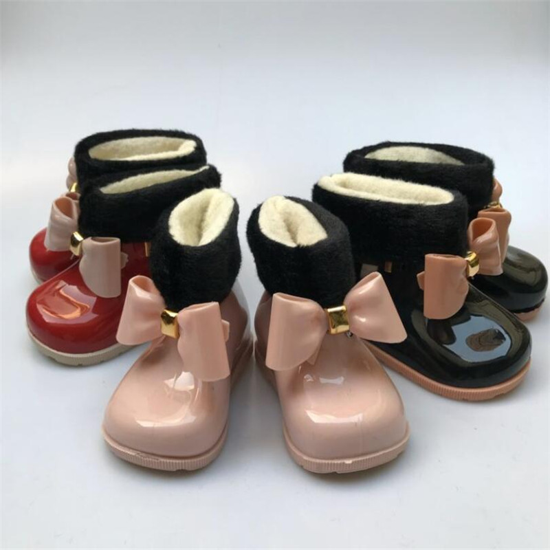 MHYONS Baby Girl Rain Boots Baby Children Snow Boots Plus Velvet Warm Bow Rain Boots Fashion Rubber Shoes Children Jelly Shoes
