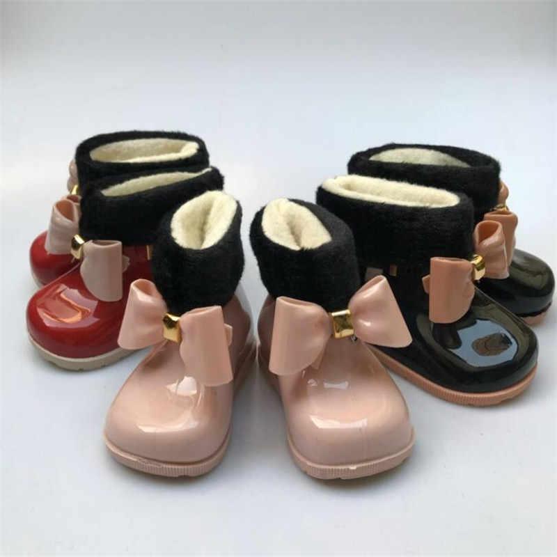 MHYONSเด็กสาวรองเท้าเด็กรองเท้าบู๊ตหิมะPlusกำมะหยี่อบอุ่นโบว์รองเท้าแฟชั่นรองเท้าเด็กJellyรองเท้า