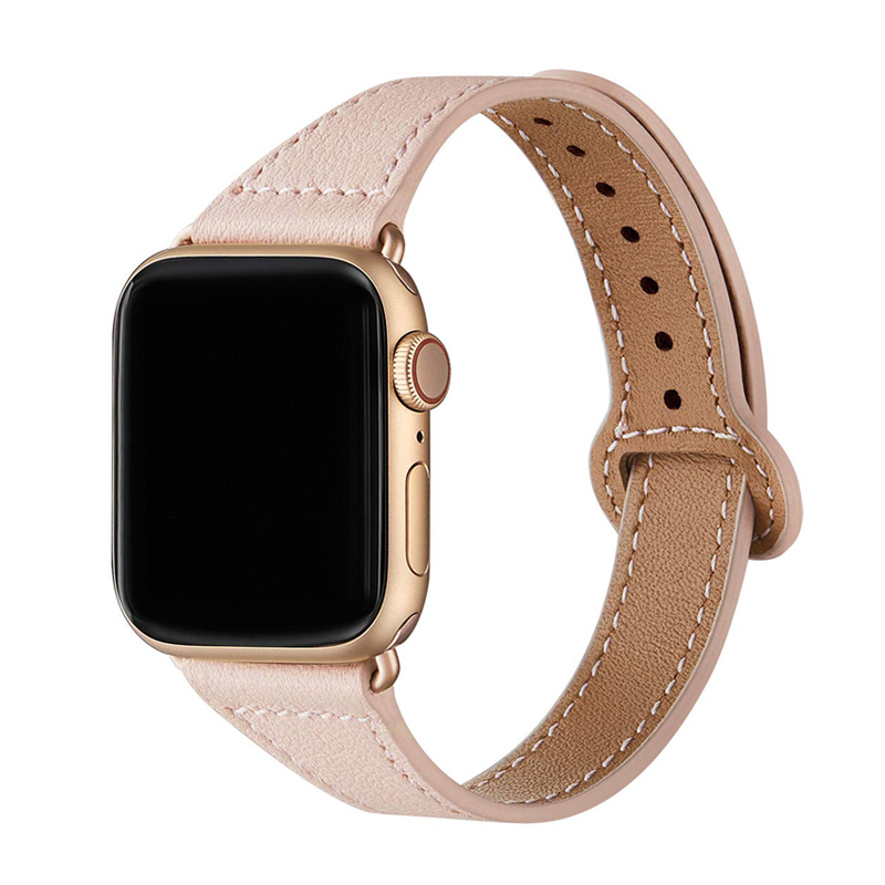 Genuine Leather Loop Strap For Apple Watch Band 38mm 40mm 44mm 42mm IWatch 5/4/3/2/1 Slim Bracelet Wristbelt Accessories