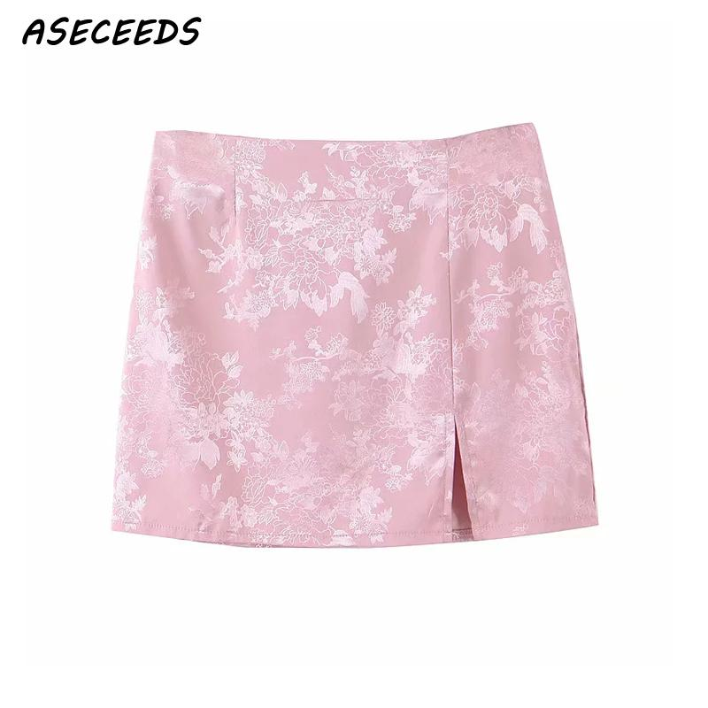 2020 Vintage floral embroidered satin skirt women sexy split mini skirt kawaii pink high waist skirts womens pencil skirt korean image
