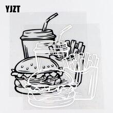 YJZT 13.7 × 14.8ซม.ไวนิล Decal Fast Food Burger เครื่องดื่มภาพจิตรกรรมฝาผนัง Nice สติ๊กเกอร์รถสีดำ/เงิน10A 0741