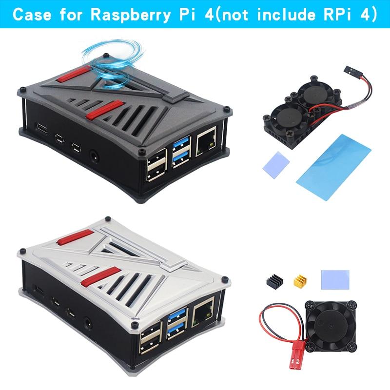 Raspberry Pi 4 ABS Case Box Gray Silver Protective Enclosure Shell + Dual Fan For Raspberry Pi 4 Model B