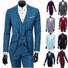 Мужской деловой костюм повседневный из трех предметов с двумя