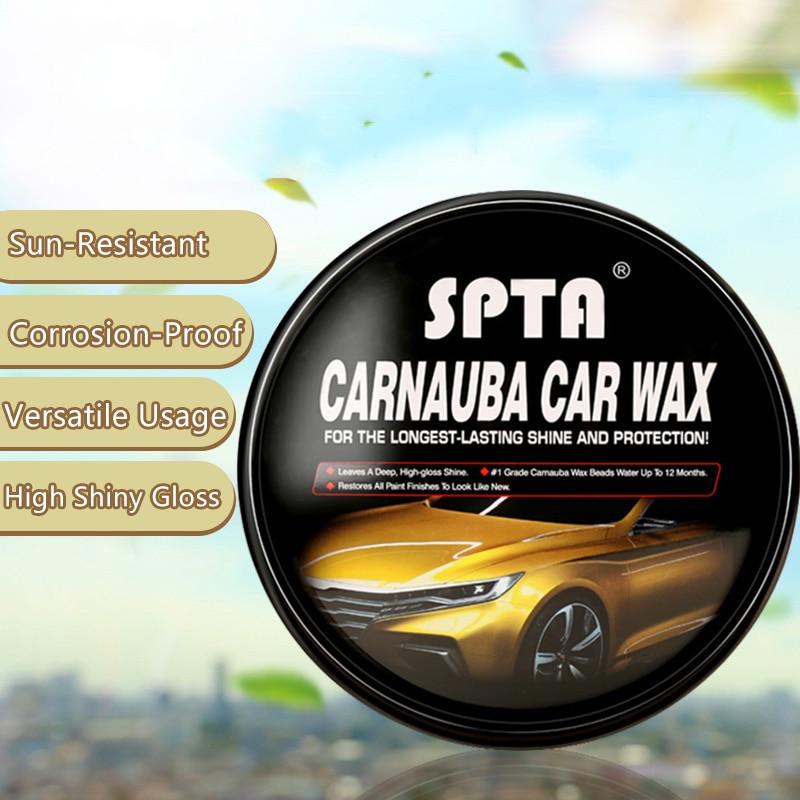SPTA 230g Carnauba Wax Scratch Removal Enhance Color Waterproof High Gloss Car Polishing Canned Hard Wax For Paint Care