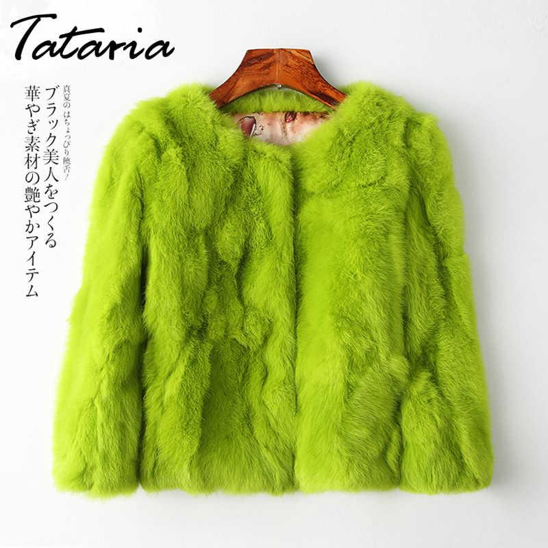 Tataria gerçek tavşan kürk ceket kadınlar için uzun kollu artı boyutu palto kadın kısa gerçek tavşan ceket kadın sıcak peluş mont