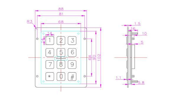 12 Keys 3x4 Matrix USB Kiosk illuminated Keypads Metal Stainless Steel Backlit Numeric Keypad For Access Control 6