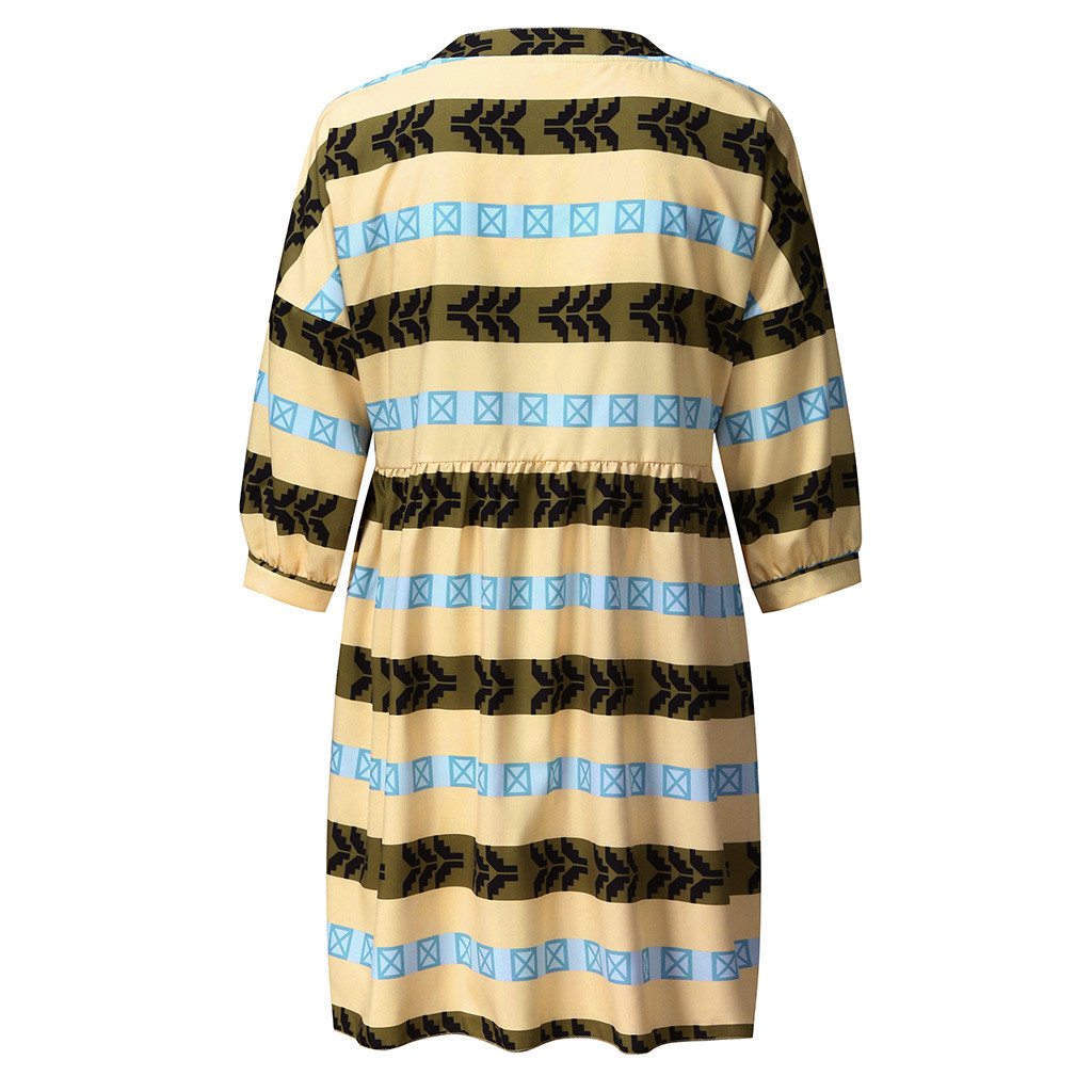 H22ef50c1f56e4b8786c1ae811bcb533a6 2019 Women boho Dress Half Sleeve Print V-Neck Party Mini Dress Elegant vestidos de festa Women Dresses ropa mujer NEW
