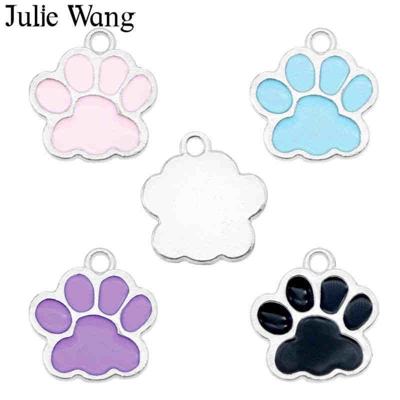 جولي وانغ 8 قطعة المينا الحيوانات الأليفة باو طباعة حلية الكلب القط باو علامة سبيكة فضية لهجة قلادة سوار القرط مجوهرات صنع الإكسسوارات