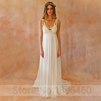 Boho Wedding Dress Long Chiffon Pearls High Waist Gowns For Pregnant Bohemian Bride Beach A line Vestido De Noiva