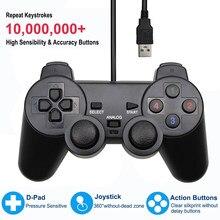 Gamepad Controller cablato USB per WinXP/Win7/Win8/Win10 per Computer portatile Joystick per Vista Joystick di gioco per PC a vibrazione nera