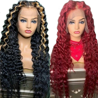 Highlights Honey Blonde 13x6 Lace Front Wigs PrePlucked 360 Wigs Transparent Lace Human Hair Wigs Red Deep Wave Full Lace Wig