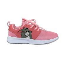 Кроссовки мужские/женские сетчатые, мультяшный Кот и мышь, милые забавные спортивные беговые туфли, легкие дышащие кроссовки с 3D принтом