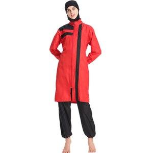 Image 4 - Haofan novo 2019 verão costura estilo burkinis muçulmano banho hijab conservador muslimah maiô praia natação islâmico 3xl