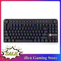 Teclado mecânico do jogo usb sem fio bt 3.0 rgb backlight comutável 87 teclas teclado do jogo magic-refinador mk11