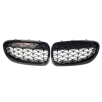 1 Pair 5 Series F10 Diamond Grille Meteor Style Front Black Edge Bumper Grill Car Styling for Bmw F10 F18 520I 523I 525I 530I 53