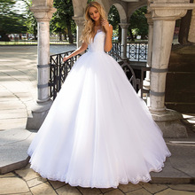 Wedding-Dresses Ball-Gown Beaded Robe-De-Mariee Applique Sleeveless Illusion No Scoop