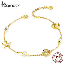 bamoer Summer Holiday Starfish with Pearl Shell Chain Bracelet for Women Gold Color 925 Sterling Silver Fashion Jewelry BSB025(China)