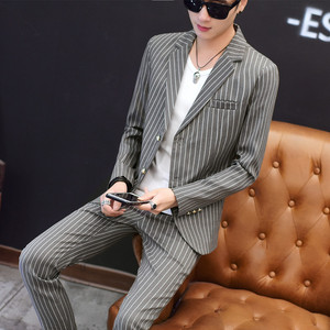 Image 4 - European Station New Polyester Mens Small Suit Suit Youth Casual Business Slim Trend Mens Plaid Suit Two piece Men Red Blazer
