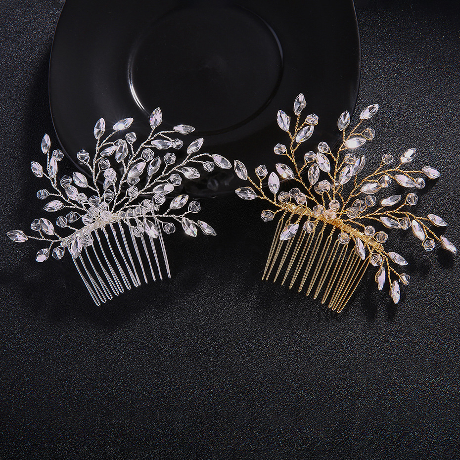 Crystal Branches And Leaves Hair Comb Wedding Headdress Party Women Hair Combs Hair Clips Bride Accessories FS120