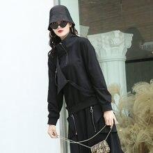 Черная Лоскутная Толстовка женская Свободная модная повседневная