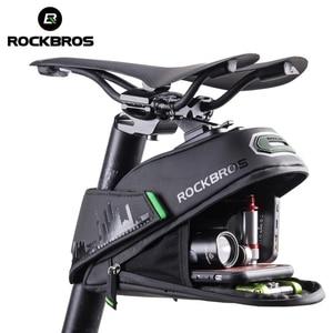 Image 1 - ROCKBROS אטים לגשם אופניים תיק עמיד הלם אופני אוכף תיק עבור Refletive אחורי גדול Capatity Seatpost MTB אופני אביזרי תיק