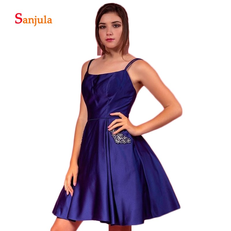 Spagetti Strap Short   Prom     Dresses   A-Line Royal Blue Satin   Prom   Gowns with Pockets Beaded Graduation   Dress   rochii de ocazie D1242