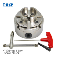TASP 4 Scroll Chuck 100mm Chrome Plated Wood Lathe Chuck 4 Jaw Self Centering M33x3.5 Woodworking Machine Tool Accessories